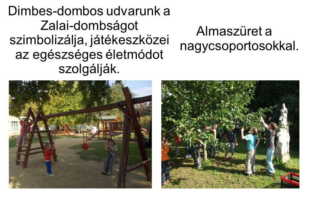 Dimbes-dombos udvarunk a Zalai-dombságot szimbolizálja, játékeszközei az egészséges életmódot szolgálják. Almaszüret a nagycsoportosokkal.