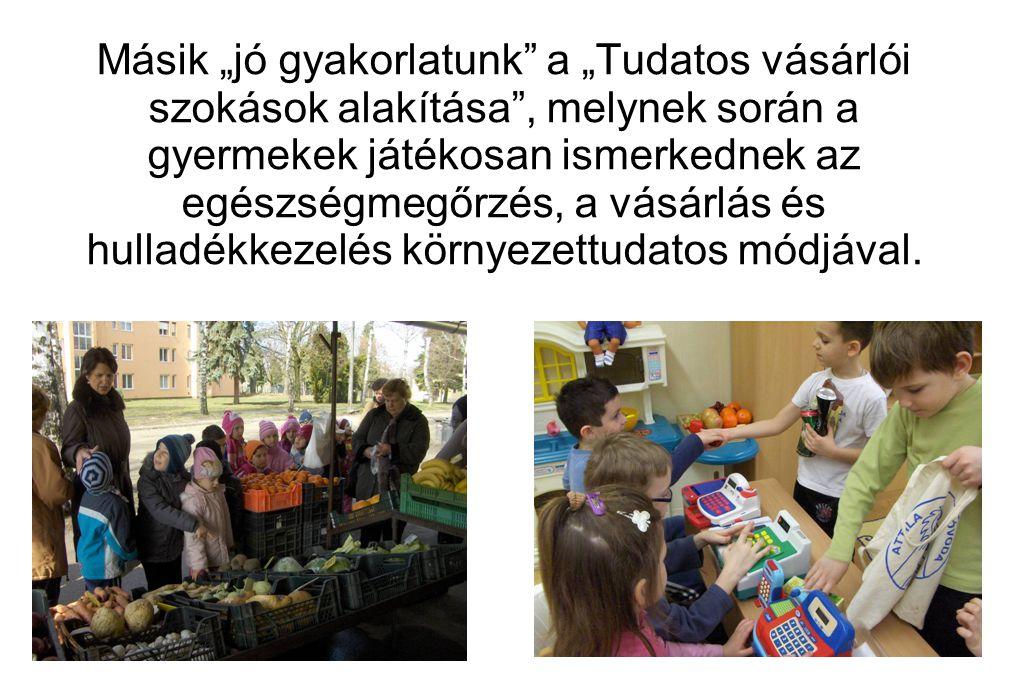 """Másik """"jó gyakorlatunk"""" a """"Tudatos vásárlói szokások alakítása"""", melynek során a gyermekek játékosan ismerkednek az egészségmegőrzés, a vásárlás és hu"""