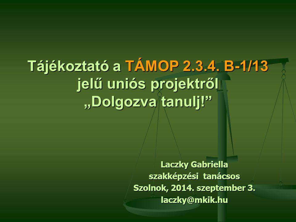 """Tájékoztató a TÁMOP 2.3.4. B-1/13 jelű uniós projektről """"Dolgozva tanulj!"""" Laczky Gabriella szakképzési tanácsos Szolnok, 2014. szeptember 3. laczky@m"""