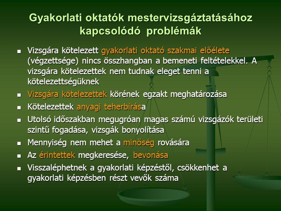 Gyakorlati oktatók mestervizsgáztatásához kapcsolódó problémák Vizsgára kötelezett gyakorlati oktató szakmai előélete (végzettsége) nincs összhangban