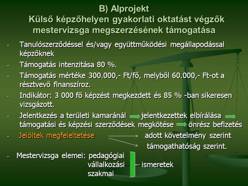 B) Alprojekt Külső képzőhelyen gyakorlati oktatást végzők mestervizsga megszerzésének támogatása - Tanulószerződéssel és/vagy együttműködési megállapo