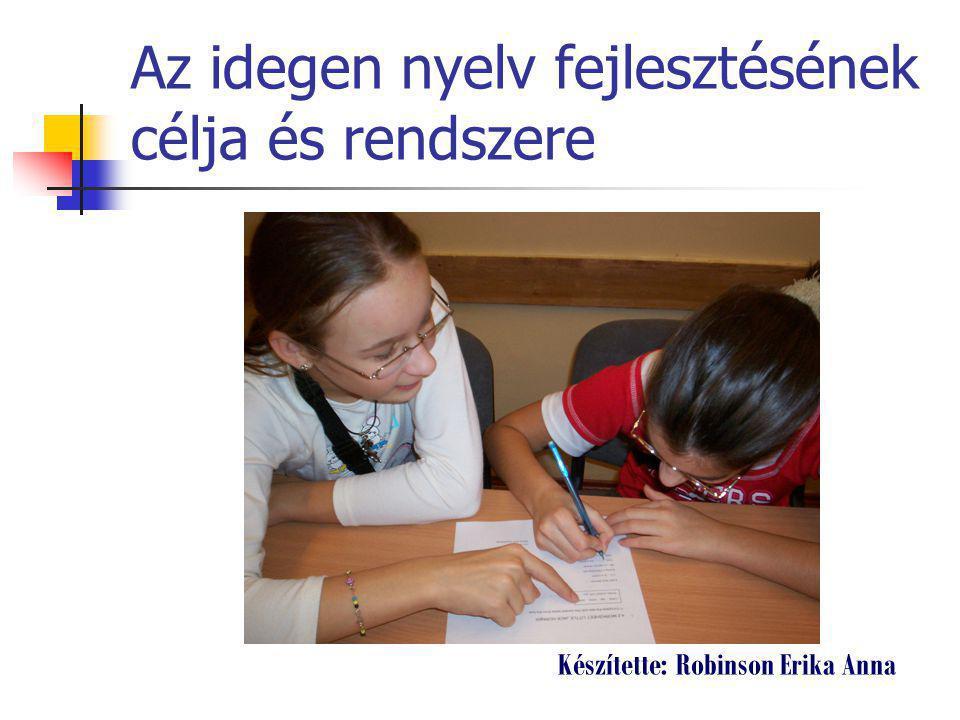 Az idegen nyelv fejlesztésének célja és rendszere Készítette: Robinson Erika Anna