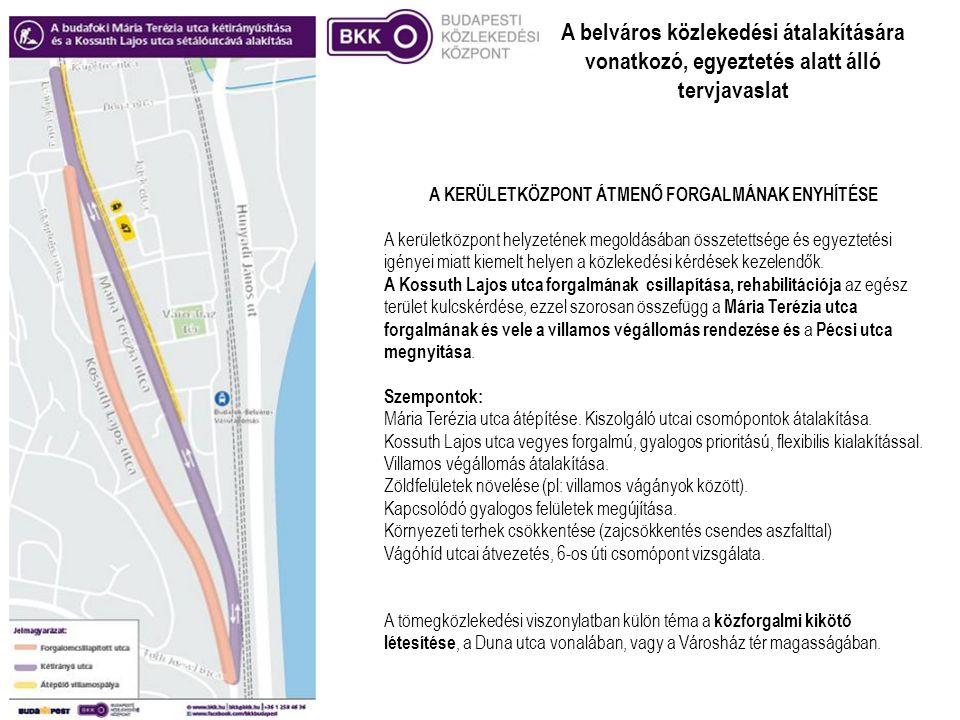 A belváros közlekedési átalakítására vonatkozó, egyeztetés alatt álló tervjavaslat A KERÜLETKÖZPONT ÁTMENŐ FORGALMÁNAK ENYHÍTÉSE A kerületközpont hely