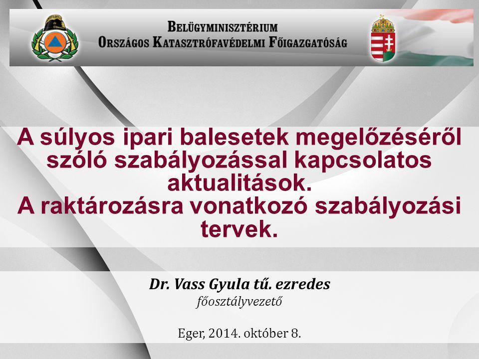 -1- A súlyos ipari balesetek megelőzéséről szóló szabályozással kapcsolatos aktualitások. A raktározásra vonatkozó szabályozási tervek. Dr. Vass Gyula