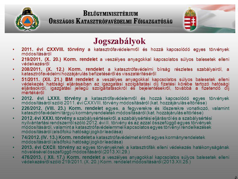 -2- Jogszabályok 2011. évi CXXVIII. törvény a katasztrófavédelemről és hozzá kapcsolódó egyes törvények módosításáról 219/2011. (X. 20.) Korm. rendele