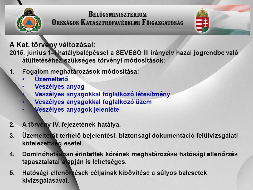 -23- A Kat. törvény változásai: 2015. június 1–i hatálybalépéssel a SEVESO III irányelv hazai jogrendbe való átültetéséhez szükséges törvényi módosítá