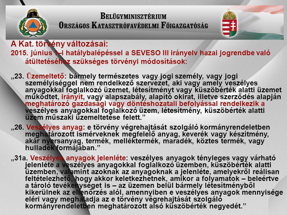 -24- A Kat. törvény változásai: 2015. június 1–i hatálybalépéssel a SEVESO III irányelv hazai jogrendbe való átültetéséhez szükséges törvényi módosítá