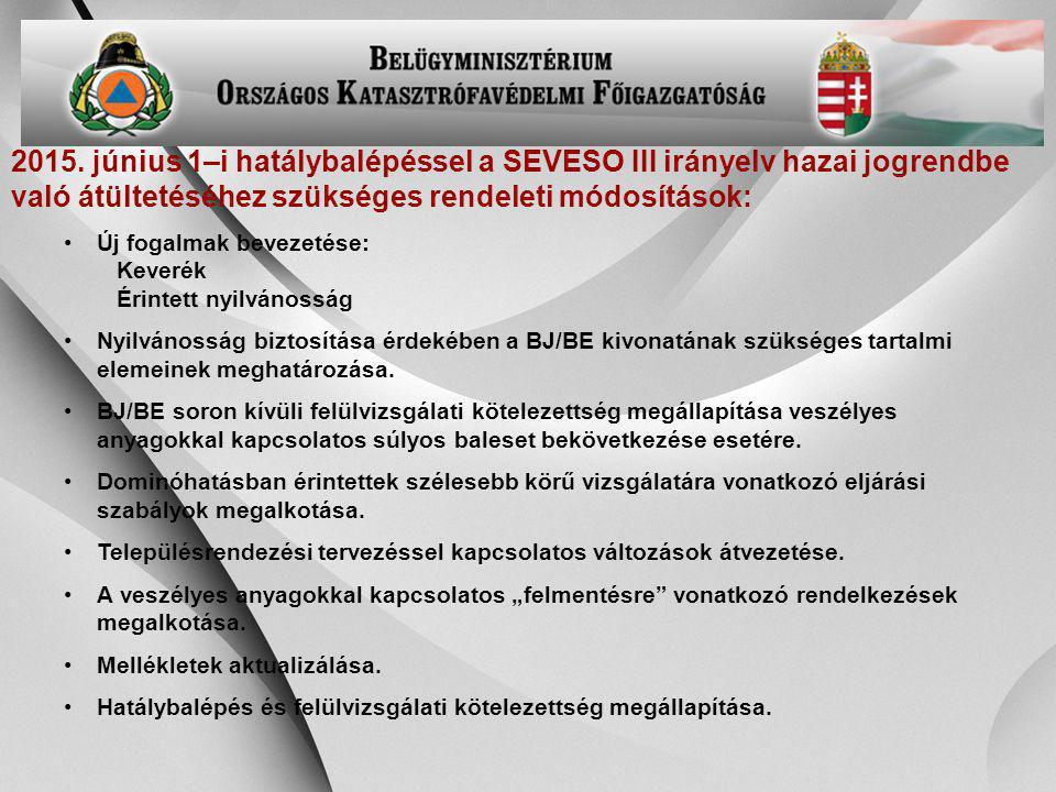 -29- 2015. június 1–i hatálybalépéssel a SEVESO III irányelv hazai jogrendbe való átültetéséhez szükséges rendeleti módosítások: Új fogalmak bevezetés