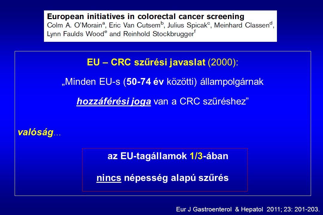 """EU – CRC szűrési javaslat (2000): """"Minden EU-s (50-74 év közötti) állampolgárnak hozzáférési joga van a CRC szűréshez valóság … az EU-tagállamok 1/3-ában nincs népesség alapú szűrés Eur J Gastroenterol & Hepatol 2011; 23: 201-203."""
