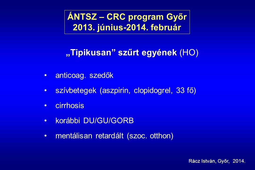 ÁNTSZ – CRC program Győr 2013.június-2014. február anticoag.