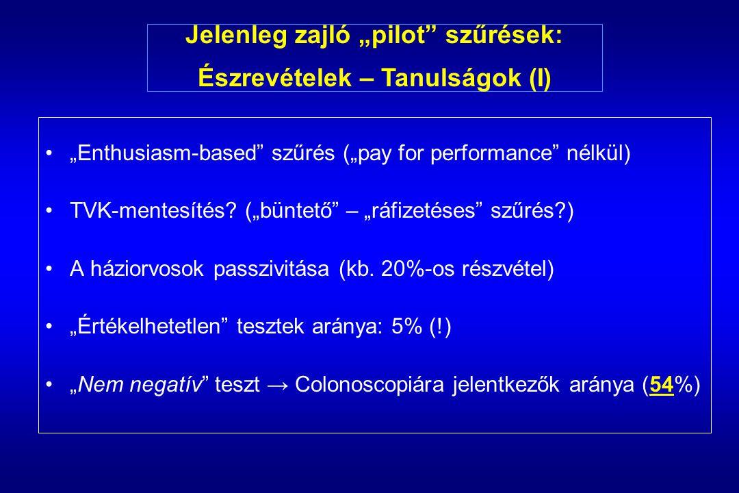 """""""Enthusiasm-based szűrés (""""pay for performance nélkül) TVK-mentesítés."""