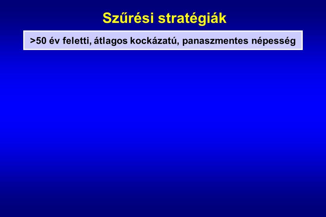Szűrési stratégiák >50 év feletti, átlagos kockázatú, panaszmentes népesség