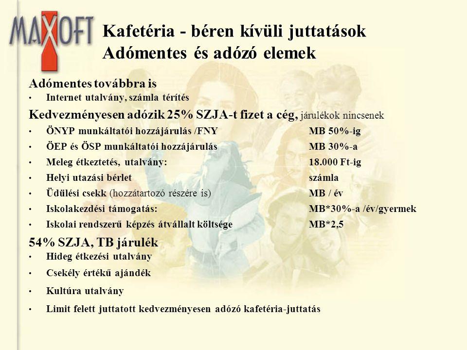 Kafetéria - béren kívüli juttatások Adómentes és adózó elemek Adómentes továbbra is Internet utalvány, számla térítés Kedvezményesen adózik 25% SZJA-t