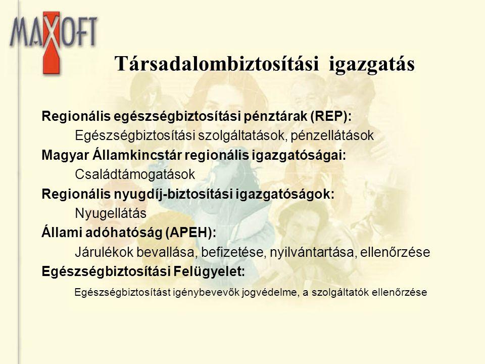 Társadalombiztosítási igazgatás Regionális egészségbiztosítási pénztárak (REP): Egészségbiztosítási szolgáltatások, pénzellátások Magyar Államkincstár