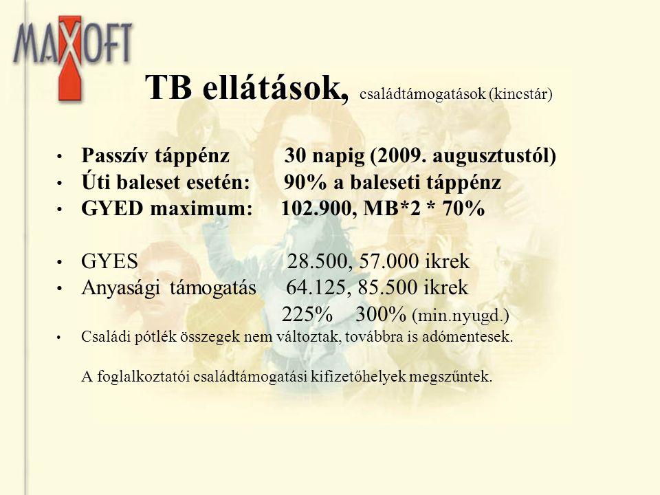 TB ellátások, családtámogatások (kincstár) Passzív táppénz 30 napig (2009. augusztustól) Úti baleset esetén: 90% a baleseti táppénz GYED maximum: 102.