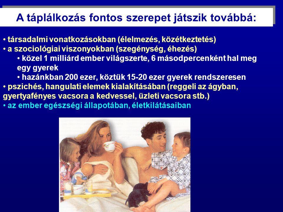társadalmi vonatkozásokban (élelmezés, közétkeztetés) a szociológiai viszonyokban (szegénység, éhezés) közel 1 milliárd ember világszerte, 6 másodpercenként hal meg egy gyerek hazánkban 200 ezer, köztük 15-20 ezer gyerek rendszeresen pszichés, hangulati elemek kialakításában (reggeli az ágyban, gyertyafényes vacsora a kedvessel, üzleti vacsora stb.) az ember egészségi állapotában, életkilátásaiban A táplálkozás fontos szerepet játszik továbbá: