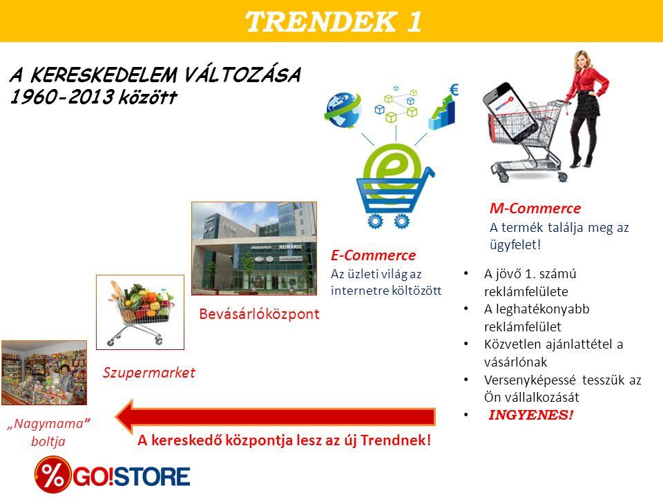 """A KERESKEDELEM VÁLTOZÁSA 1960-2013 között TRENDEK 1 Szupermarket """"Nagymama"""" boltja Bevásárlóközpont E-Commerce Az üzleti világ az internetre költözött"""