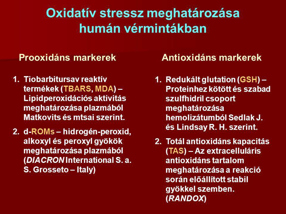 Oxidatív stressz meghatározása humán vérmintákban Prooxidáns markerekAntioxidáns markerek 1.Tiobarbitursav reaktív termékek (TBARS, MDA) – Lipidperoxi