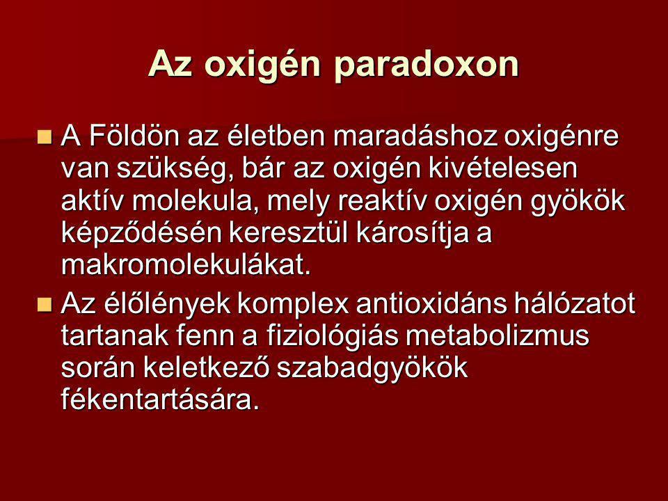 Az oxigén paradoxon A Földön az életben maradáshoz oxigénre van szükség, bár az oxigén kivételesen aktív molekula, mely reaktív oxigén gyökök képződés