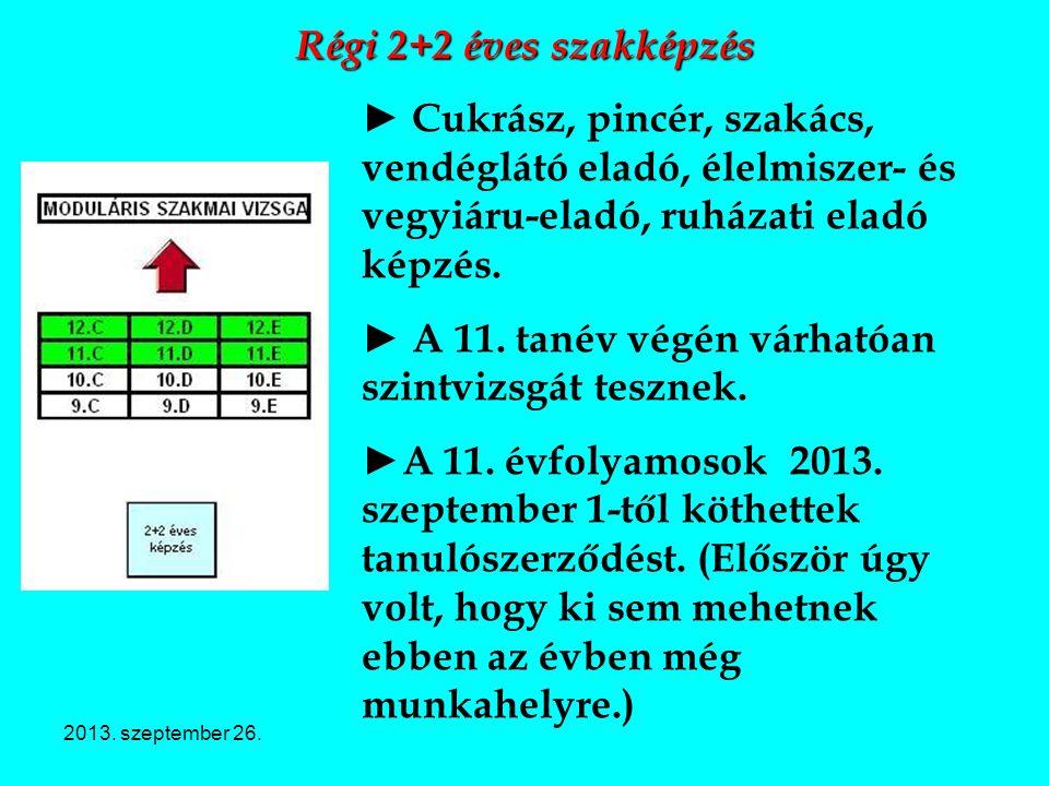2013. szeptember 26. Régi 2+2 éves szakképzés ► Cukrász, pincér, szakács, vendéglátó eladó, élelmiszer- és vegyiáru-eladó, ruházati eladó képzés. ► A