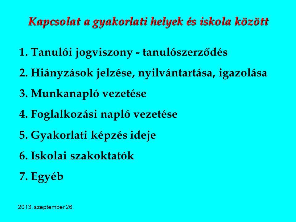 2013. szeptember 26. Kapcsolat a gyakorlati helyek és iskola között 1. Tanulói jogviszony - tanulószerződés 2. Hiányzások jelzése, nyilvántartása, iga