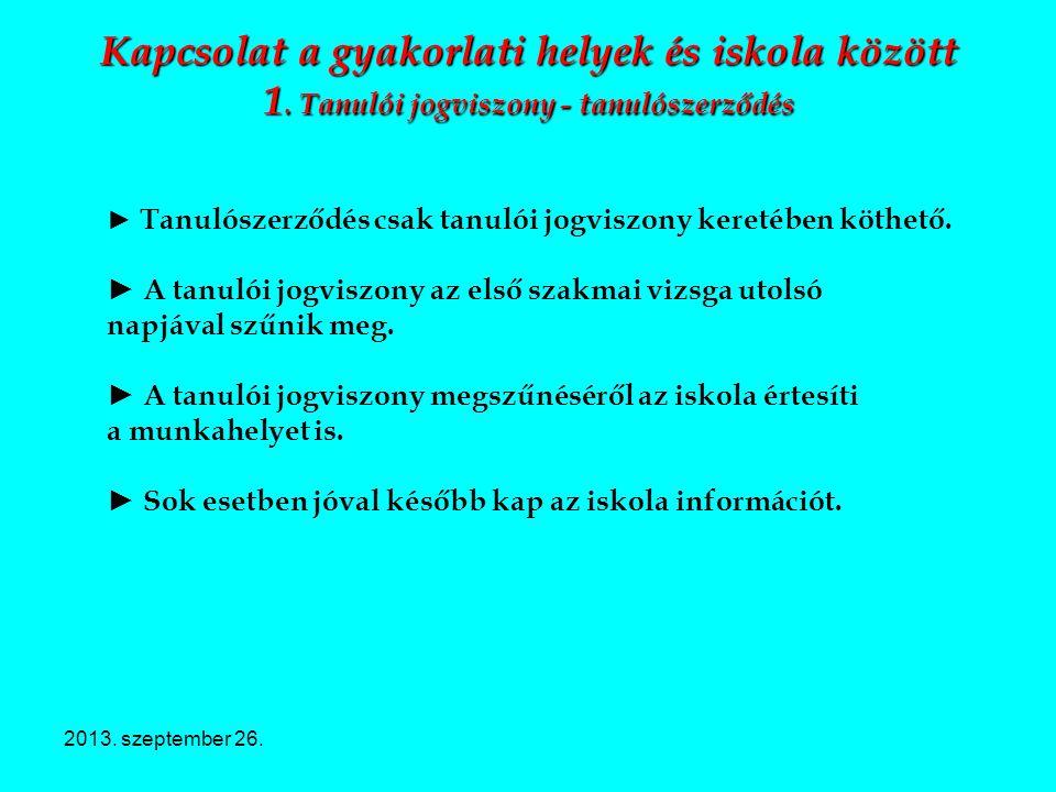 2013. szeptember 26. Kapcsolat a gyakorlati helyek és iskola között 1. Tanulói jogviszony - tanulószerződés ► Tanulószerződés csak tanulói jogviszony