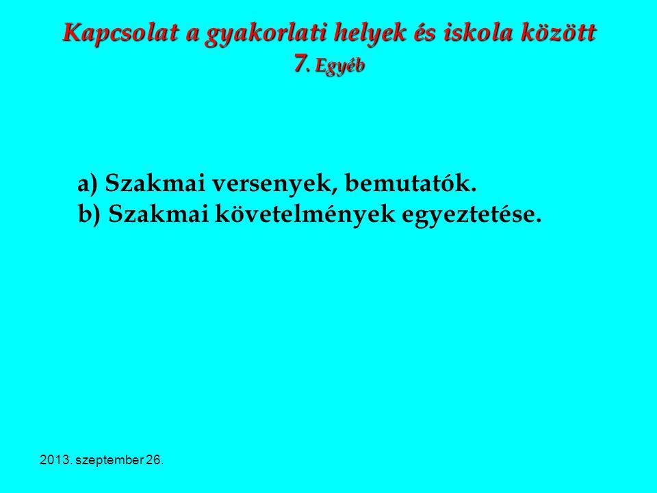 2013. szeptember 26. Kapcsolat a gyakorlati helyek és iskola között 7. Egyéb a) Szakmai versenyek, bemutatók. b) Szakmai követelmények egyeztetése.