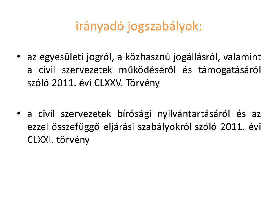 irányadó jogszabályok: az egyesületi jogról, a közhasznú jogállásról, valamint a civil szervezetek működéséről és támogatásáról szóló 2011. évi CLXXV.