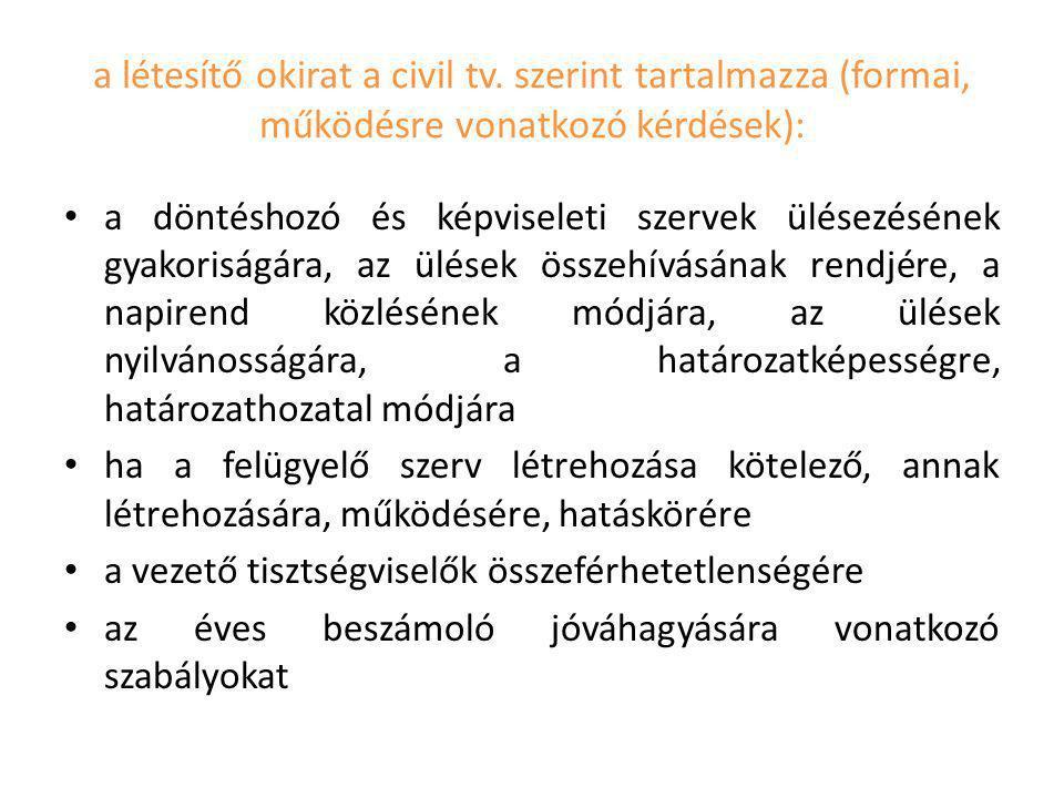 a létesítő okirat a civil tv. szerint tartalmazza (formai, működésre vonatkozó kérdések): a döntéshozó és képviseleti szervek ülésezésének gyakoriságá