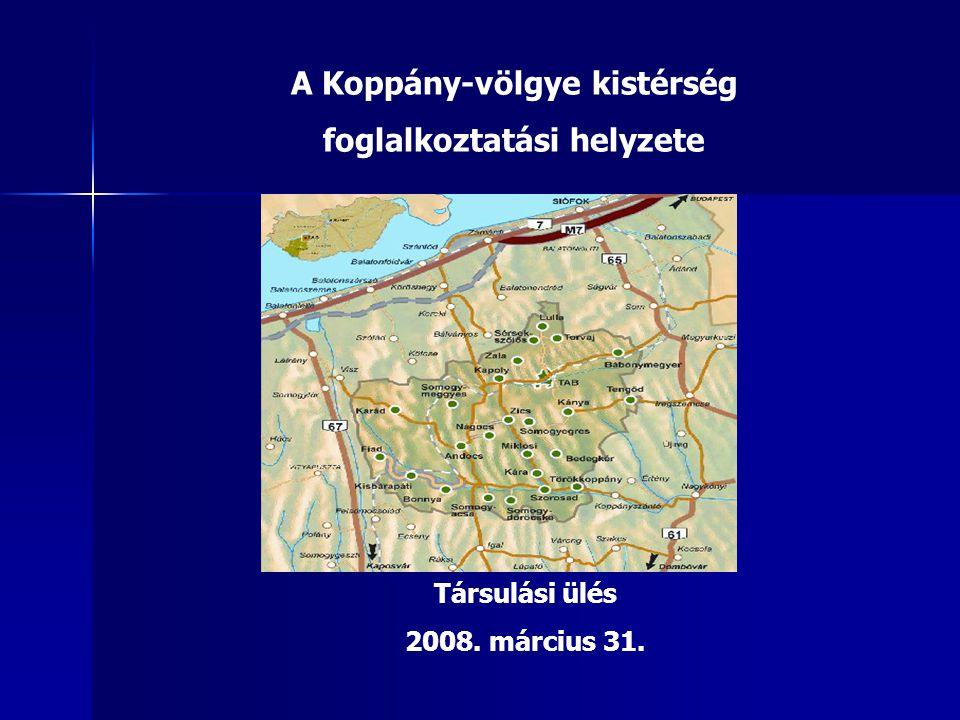A Koppány-völgye kistérség foglalkoztatási helyzete Társulási ülés 2008. március 31.
