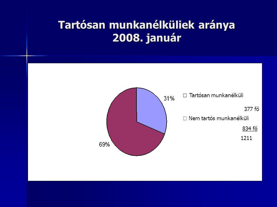 Tartósan munkanélküliek aránya 2008. január □ Tartósan munkanélküli 377 fő □ Nem tartós munkanélküli 834 fő 1211