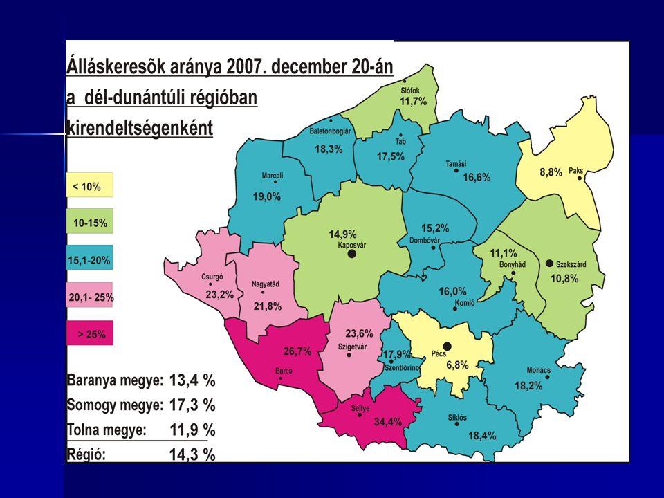 Álláskeresők aránya településenként 2007.december 20.