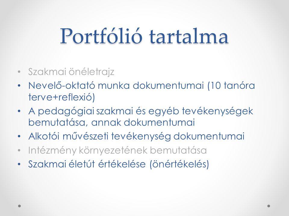 Portfólió tartalma Szakmai önéletrajz Nevelő-oktató munka dokumentumai (10 tanóra terve+reflexió) A pedagógiai szakmai és egyéb tevékenységek bemutatá