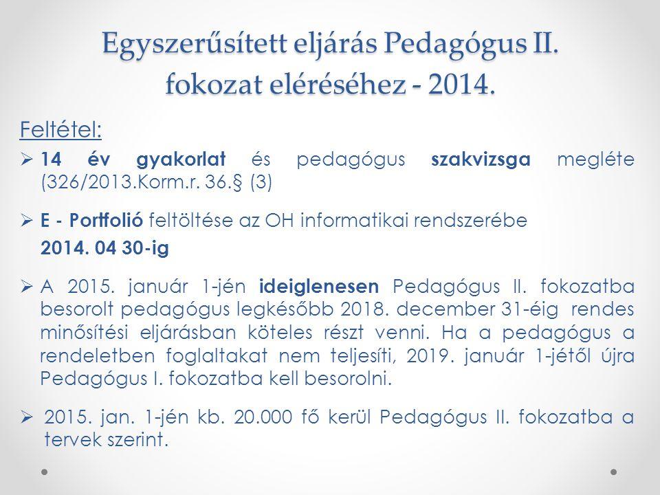 Egyszerűsített eljárás Pedagógus II. fokozat eléréséhez - 2014. Feltétel:  14 év gyakorlat és pedagógus szakvizsga megléte (326/2013.Korm.r. 36.§ (3)