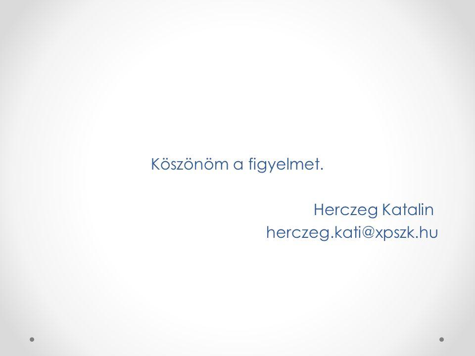 Köszönöm a figyelmet. Herczeg Katalin herczeg.kati@xpszk.hu