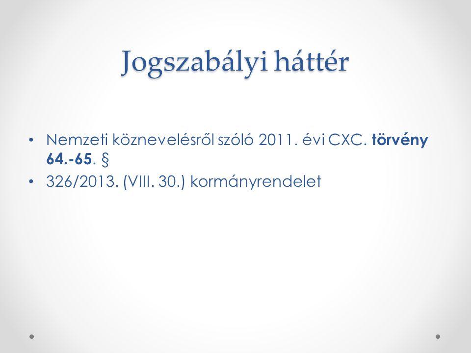 Jogszabályi háttér Nemzeti köznevelésről szóló 2011. évi CXC. törvény 64.-65. § 326/2013. (VIII. 30.) kormányrendelet