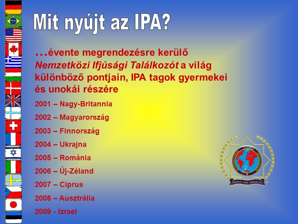 … évente megrendezésre kerülő Nemzetközi Ifjúsági Találkozót a világ különböző pontjain, IPA tagok gyermekei és unokái részére 2001 – Nagy-Britannia 2002 – Magyarország 2003 – Finnország 2004 – Ukrajna 2005 – Románia 2006 – Új-Zéland 2007 – Ciprus 2008 – Ausztrália 2009 - Izrael