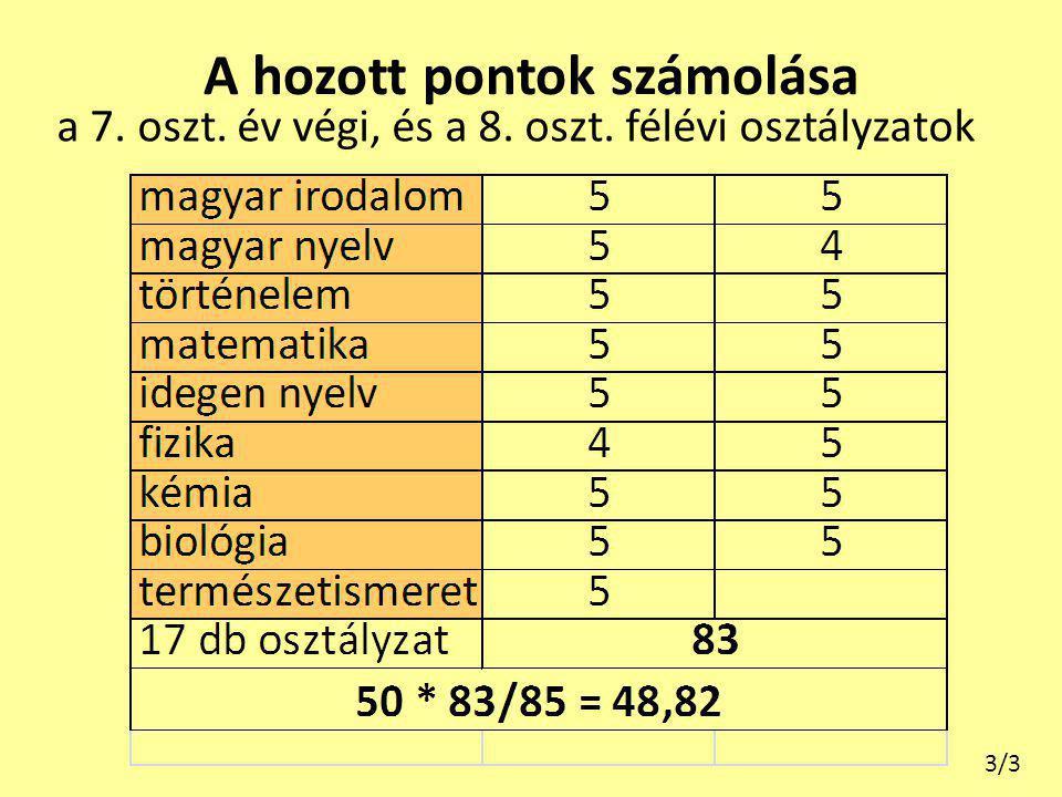 A hozott pontok számolása a 7. oszt. év végi, és a 8. oszt. félévi osztályzatok 3/3