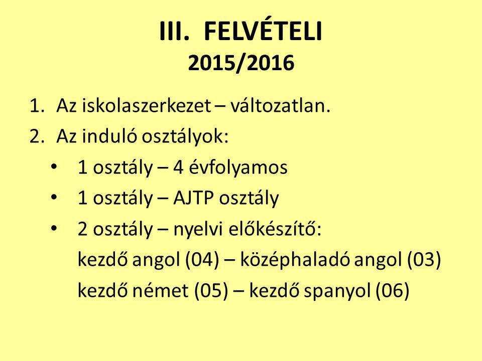 III. FELVÉTELI 2015/2016 1.Az iskolaszerkezet – változatlan. 2.Az induló osztályok: 1 osztály – 4 évfolyamos 1 osztály – AJTP osztály 2 osztály – nyel