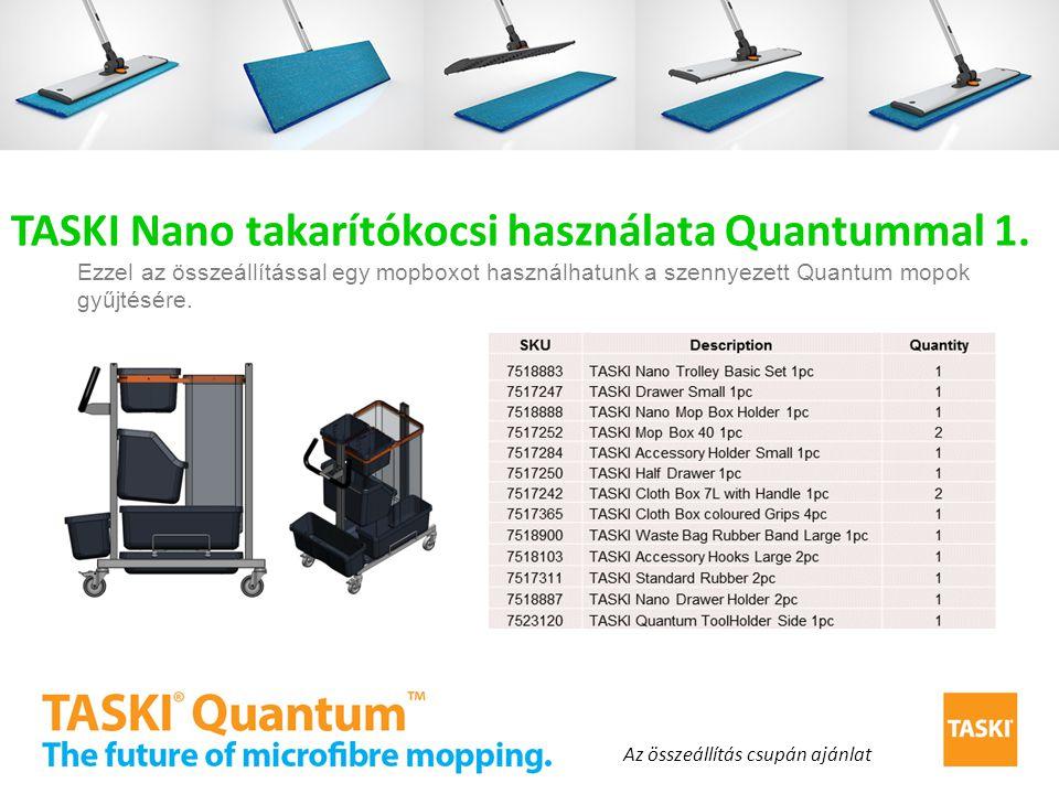 TASKI Nano takarítókocsi használata Quantummal 1. Ezzel az összeállítással egy mopboxot használhatunk a szennyezett Quantum mopok gyűjtésére. Az össze