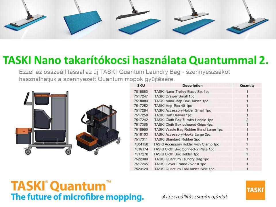 TASKI Nano takarítókocsi használata Quantummal 2. Ezzel az összeállítással az új TASKI Quantum Laundry Bag - szennyeszsákot használhatjuk a szennyezet