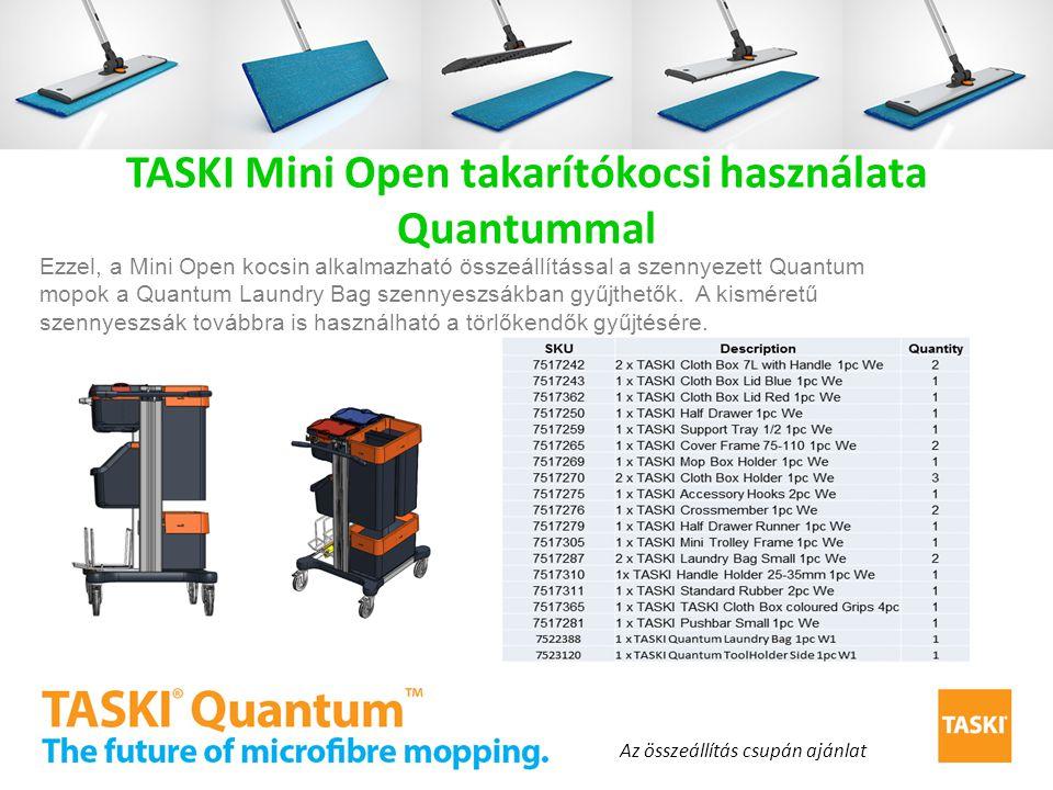 TASKI Mini Open takarítókocsi használata Quantummal Ezzel, a Mini Open kocsin alkalmazható összeállítással a szennyezett Quantum mopok a Quantum Laund