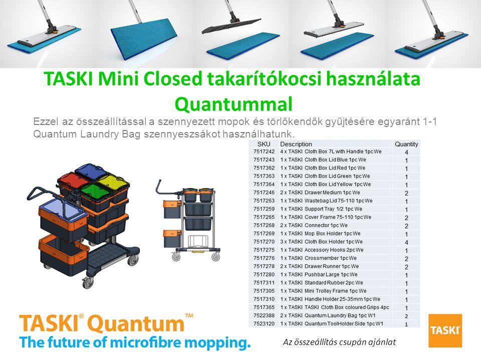 TASKI Mini Closed takarítókocsi használata Quantummal Ezzel az összeállítással a szennyezett mopok és törlőkendők gyűjtésére egyaránt 1-1 Quantum Laun
