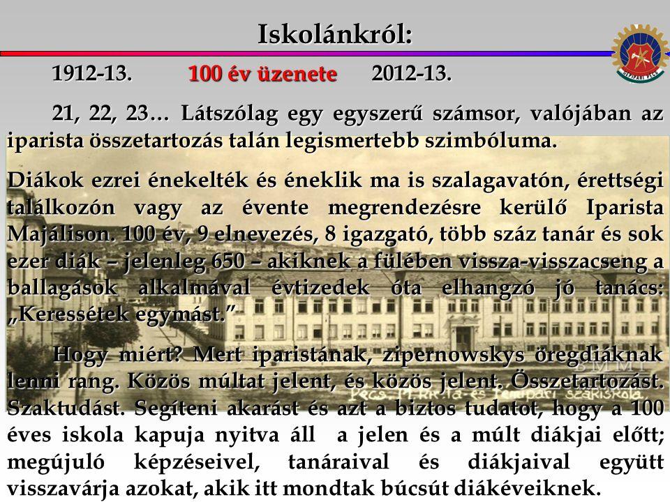 Iskolánkról: 1912-13. 100 év üzenete 2012-13.