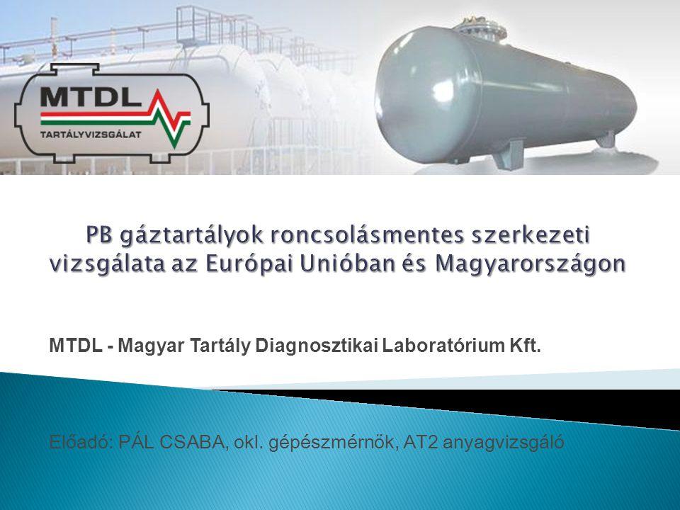 MTDL - Magyar Tartály Diagnosztikai Laboratórium Kft. Előadó: PÁL CSABA, okl. gépészmérnök, AT2 anyagvizsgáló