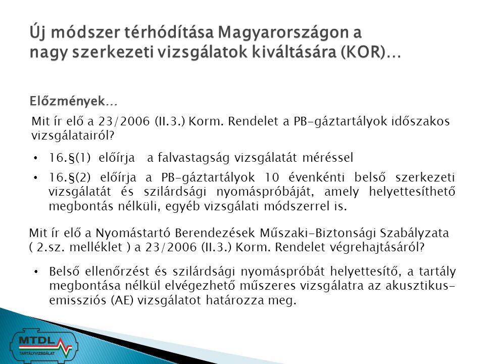 Új módszer térhódítása Magyarországon a nagy szerkezeti vizsgálatok kiváltására (KOR)… Előzmények… Mit ír elő a 23/2006 (II.3.) Korm. Rendelet a PB-gá