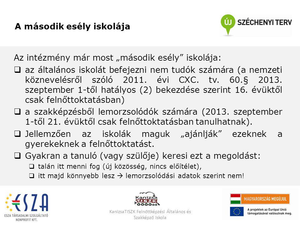 """Az intézmény már most """"második esély"""" iskolája:  az általános iskolát befejezni nem tudók számára (a nemzeti köznevelésről szóló 2011. évi CXC. tv. 6"""