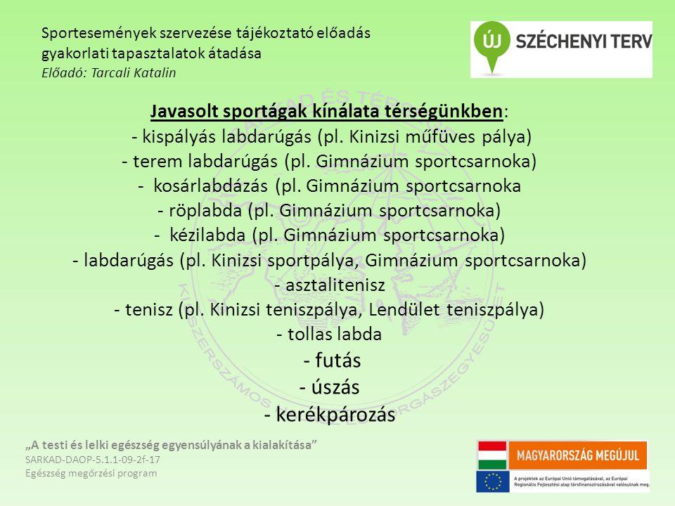 Javasolt sportágak kínálata térségünkben: - kispályás labdarúgás (pl. Kinizsi műfüves pálya) - terem labdarúgás (pl. Gimnázium sportcsarnoka) - kosárl