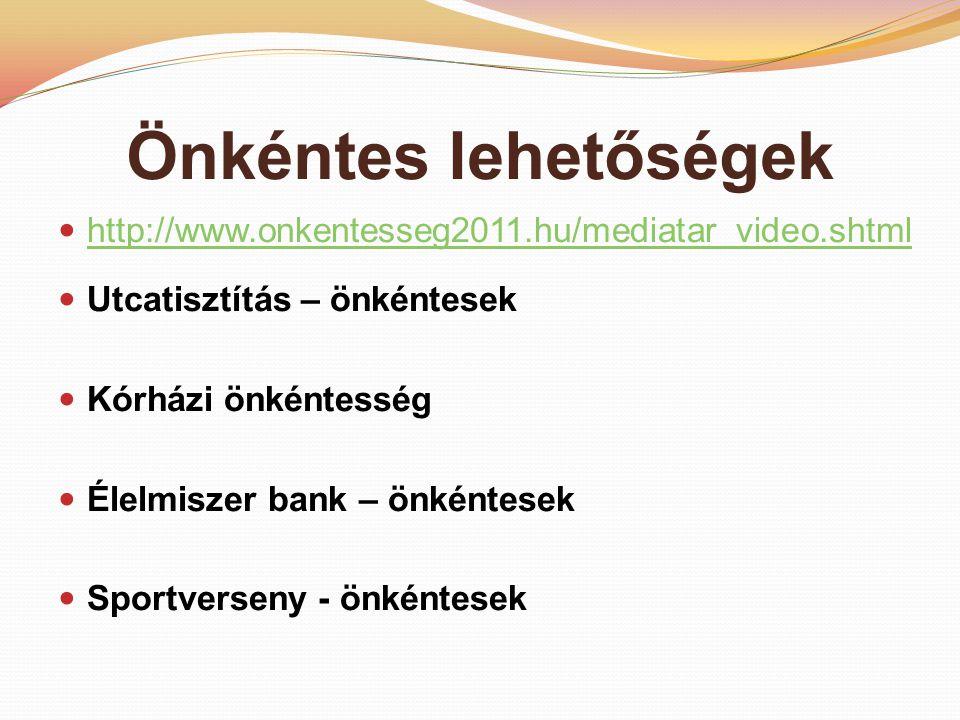 Önkéntes lehetőségek http://www.onkentesseg2011.hu/mediatar_video.shtml Utcatisztítás – önkéntesek Kórházi önkéntesség Élelmiszer bank – önkéntesek Sportverseny - önkéntesek