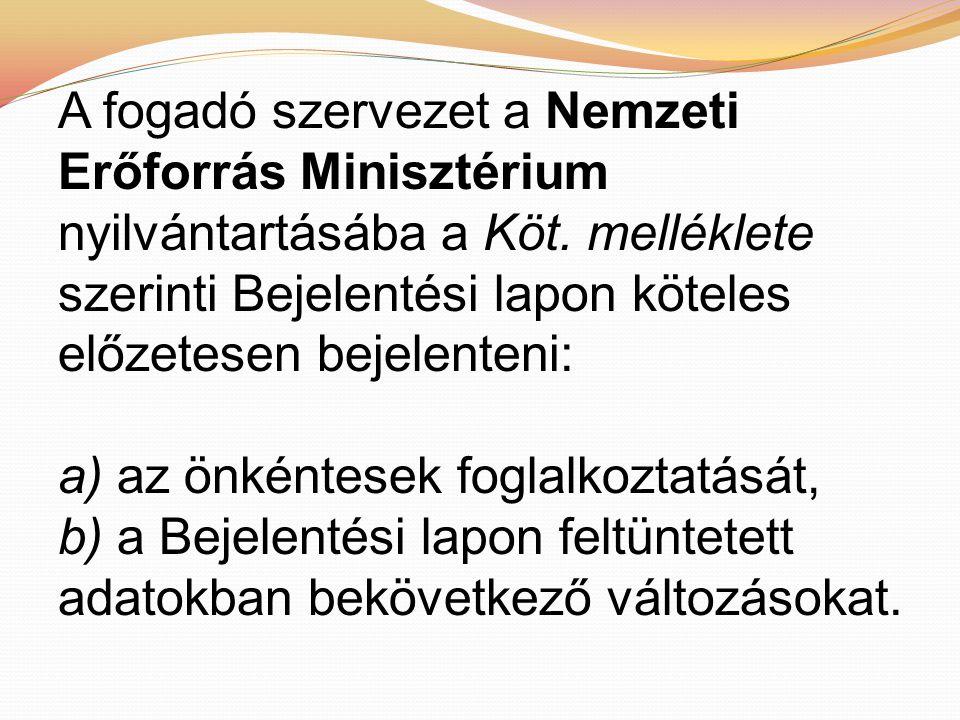A fogadó szervezet a Nemzeti Erőforrás Minisztérium nyilvántartásába a Köt.